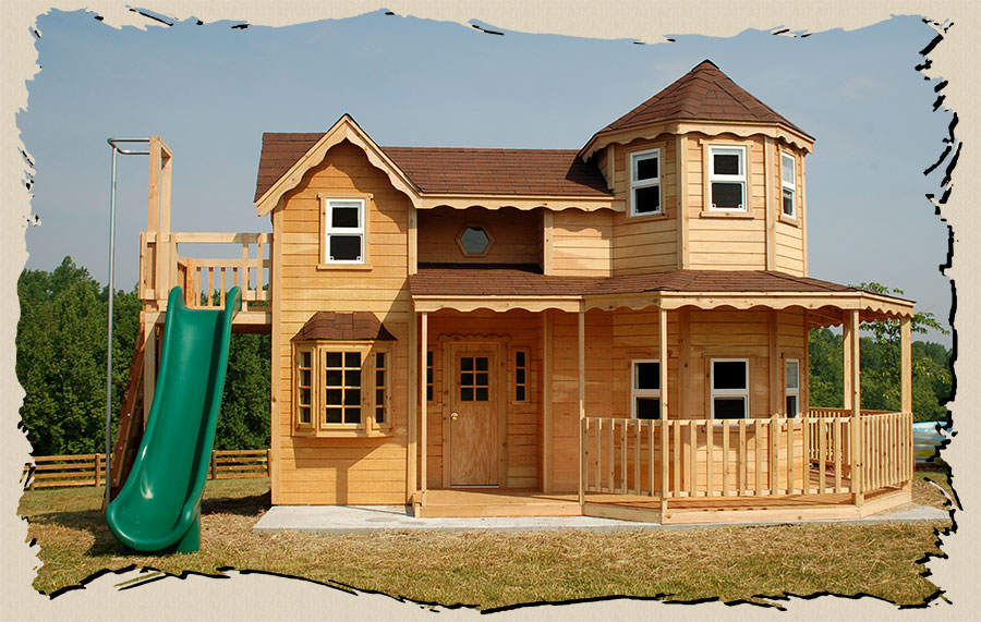 Wood manor outdoor playhouses joy studio design gallery for Plans for childrens playhouse