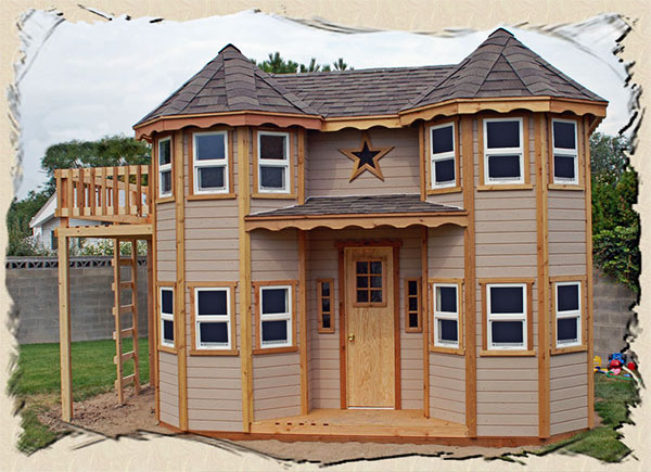 Victorian Backyard Floored Playhouse : Kids Outdoor Playhouse Plans Victorian castle playhouse