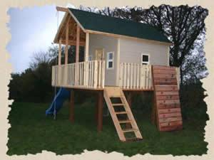 Backyard Clubhouse With Fireman Pole