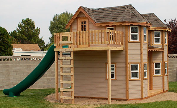Victorian Castle Outdoor Playhouse With Turrets